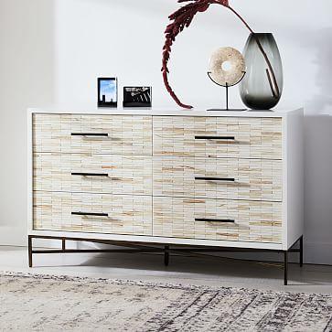 Wood Tiled 6-Drawer Dresser, Whitewash