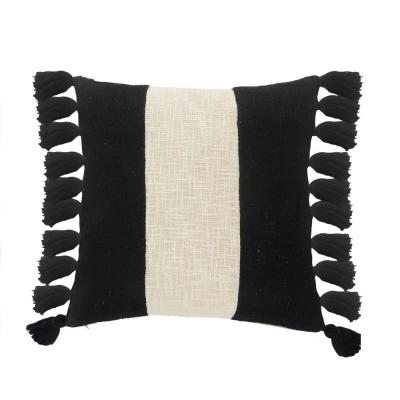 LR Home Trinity Black and Ivory Stripe Fringe Soft Poly-fill 20 in. x 20 in. Throw Pillow