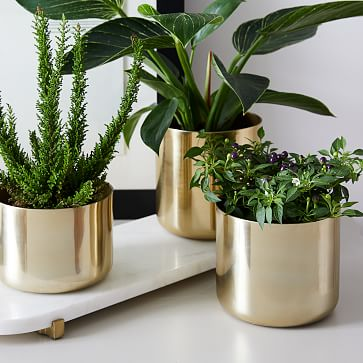 Calluna Planter Set With Pill Tray, Antique Brass & Marble, Set of 3
