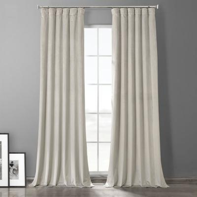 Exclusive Fabrics & Furnishings Silvery Taupe Brown Plush Velvet Hotel Blackout Curtain - 50 in. W x 84 in. L (1 Panel)