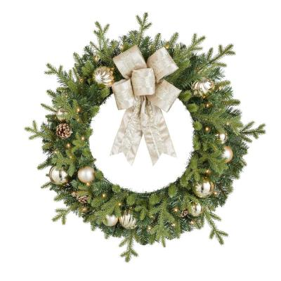 Home Accents Holiday 30 in. St. Germain Battery Operated Pre-Lit LED Artificial Christmas Wreath