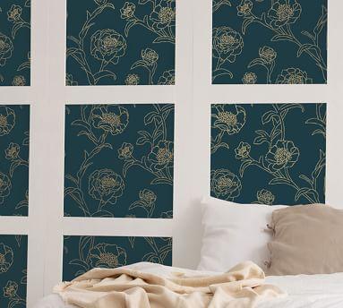 Peonies Peacock Blue/Gold Wallpaper, 56 Sq. Ft