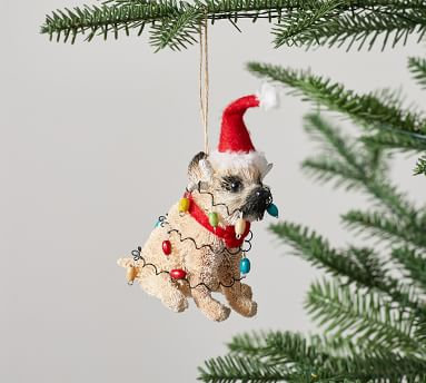Bottlebrush Ornaments, Mixed Set of 2, Party Pug & Feliz Naughty Dog