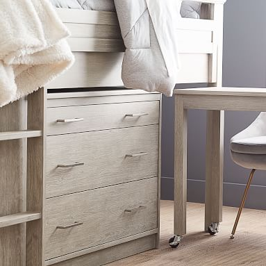 Sleep & Study Low Loft Bed, Drawer and Desk Set, Brushed Fog