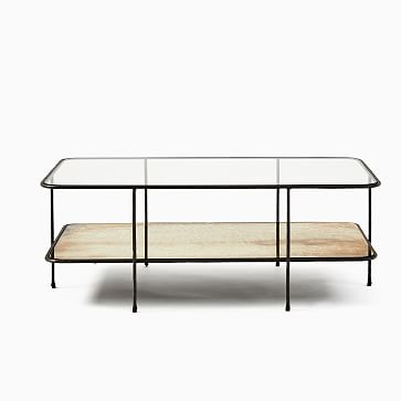 Marley Collection Glass and Antique Bronze Rectangle Coffee Table