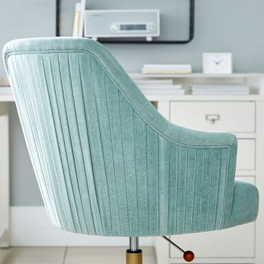 Distressed Velvet Aqua/Green/Blue Pleated Swivel Desk Chair, In-Home Delivery