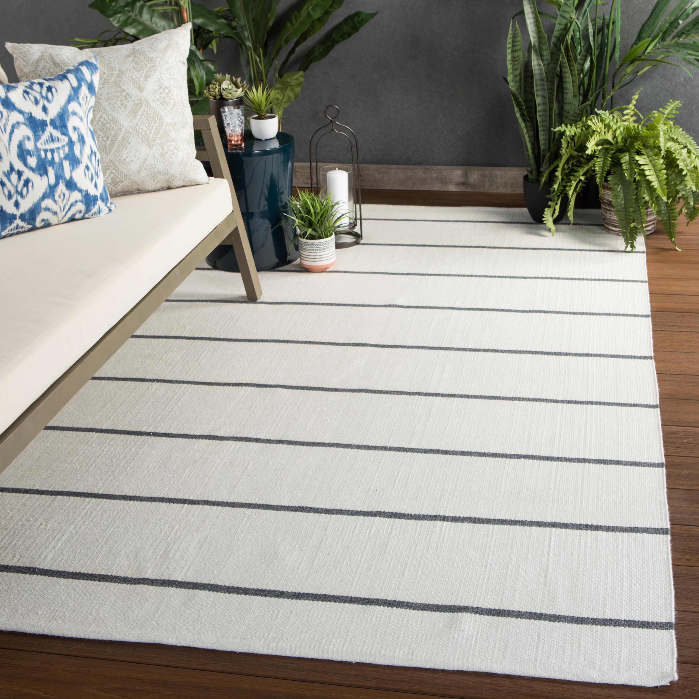 """Corbina Indoor/ Outdoor Stripe Ivory/ Dark Gray Area Rug (8'10""""X11'9"""")"""