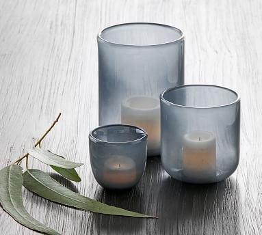 Modern Glass Votive Holders, Dusty Blue, Small