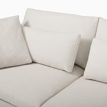 Harmony Modular Sectional Set 07: Right Arm Sofa + Left Arm Chaise, Down, Performance Yarn Dyed Linen Weave, Alabaster, Concealed Supports