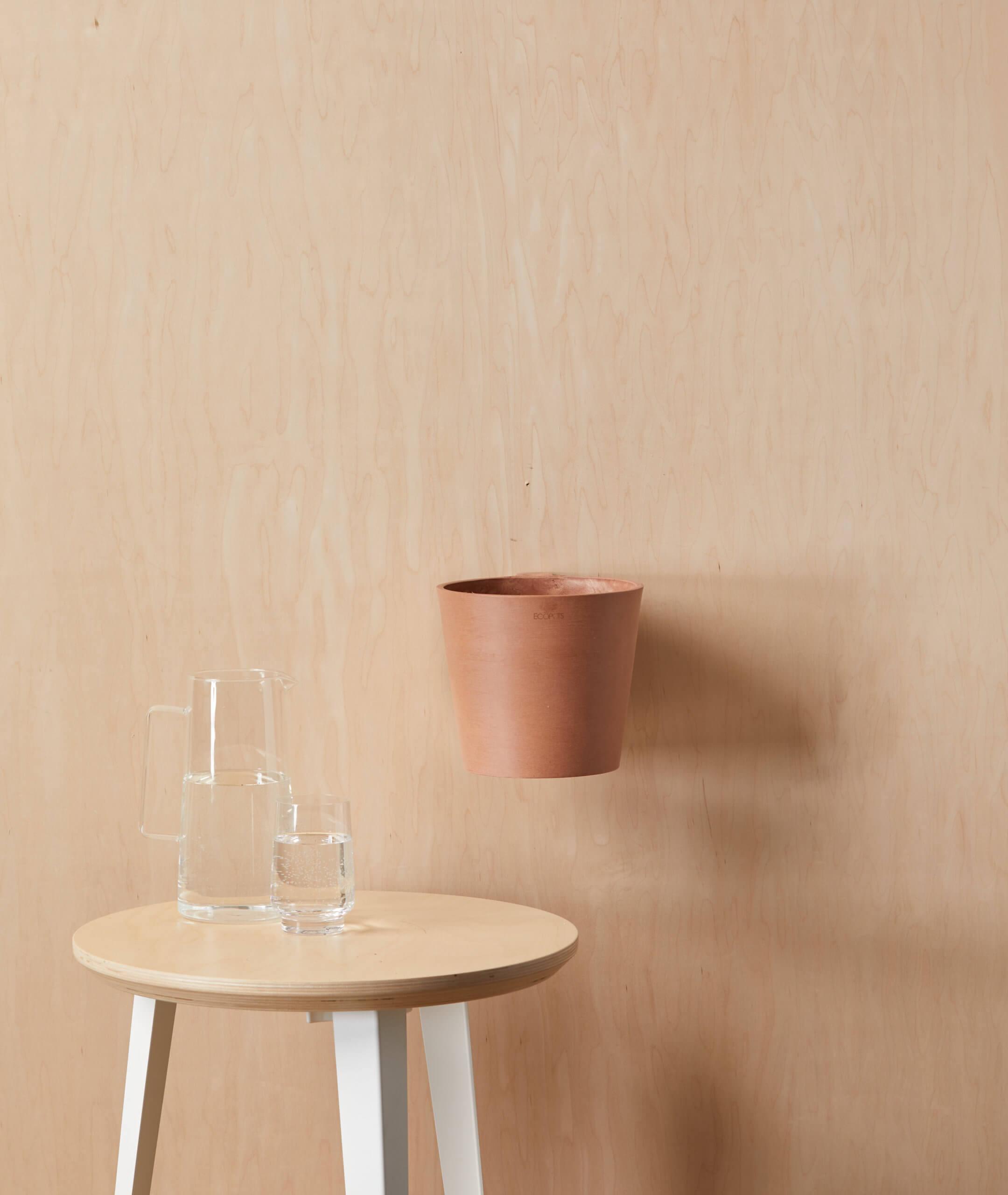 "Ecopots Round Wall Hanging Pot - Medium (8"") -  Stone"
