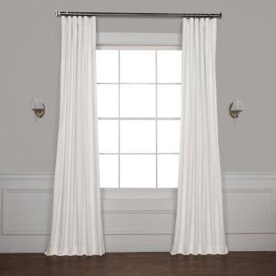 Exclusive Fabrics & Furnishings Whisper White Solid Cotton Blackout Curtain - 50 in. W x 108 in. L (1 Panel)