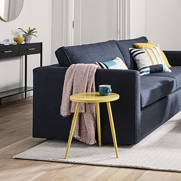 """Harris 96"""" Sofa, Poly, Performance Coastal Linen, Storm Gray, Concealed Supports"""