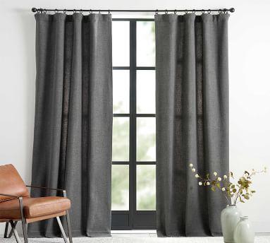 "Chateau Basketweave Curtain, 50 x 96"", Charcoal"
