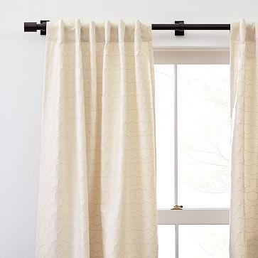 "Honeycomb Jacquard Curtain, Antique Beige, 48""x96"""