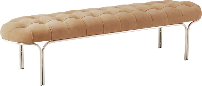 Luxey Tufted Suede Bench
