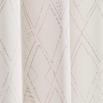 "Hand Drawn Diamond Curtain, Set of 2, Stone Gray 48""x96"""