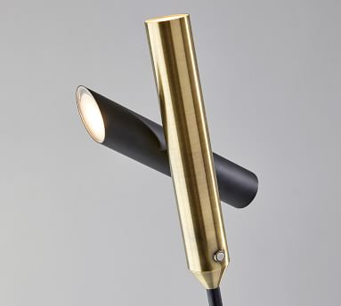 Rita LED Torchiere Floor Lamp, Black & Antique Brass