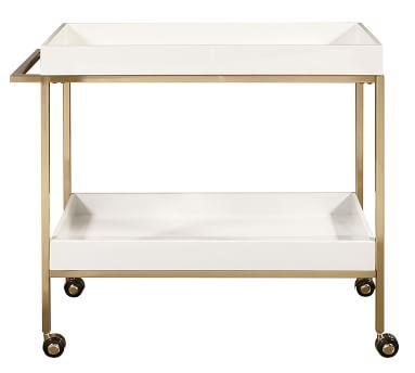 "Goldonna 36"" Bar Cart, White/Gold"
