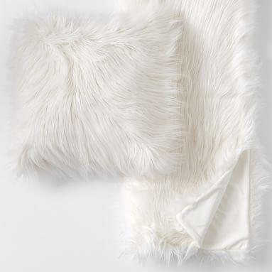 Himalayan Faux-Fur Pillow & Throw Set, 18X18, Himilayan Blush