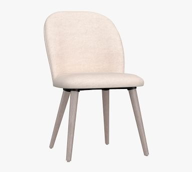Brea Upholstered Dining Side Chair, Black Leg, Performance Twill Metal Gray