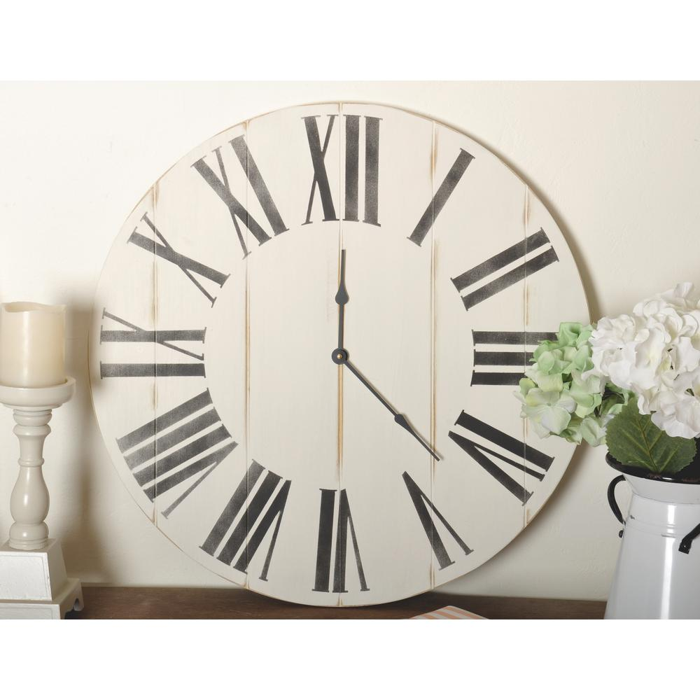Brandtworks 30 In Oversized Wooden Farmhouse Wall Clock Distressed White Home Depot