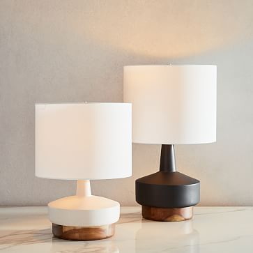Wood & Ceramic Table Lamp, Medium, Gray Set of 2