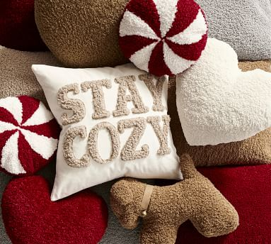 "Stay Cozy Teddy Applique Pillow Cover, 20 x 20"", Sand"