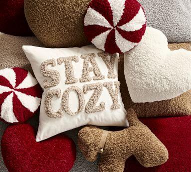 "Cozy Teddy Peppermint Pillow, 12 x 12"", Cardinal/Ivory"