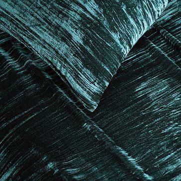 Lush Crinkle Velvet Duvet, Full/Queen, Regal Blue