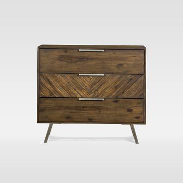 Parquet Block + Steel 3-Drawer Dresser