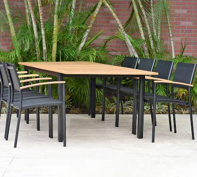 Santa Ana Mesh Teak Dining Armchair, Set of 4, Black