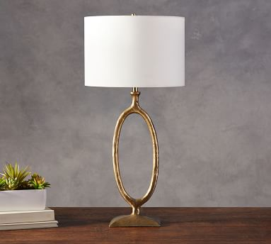 Easton Forged-Iron Oval Table Lamp with Medium Straight Sided Gallery Shade, Antique Brass