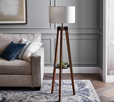Miles Tripod Floor Lamp, Walnut/Bronze