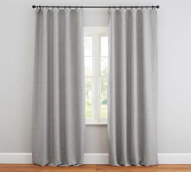 Custom Classic Belgian Flax Linen Rod Pocket Blackout Curtain, Chambray Gray, 48 x 80""