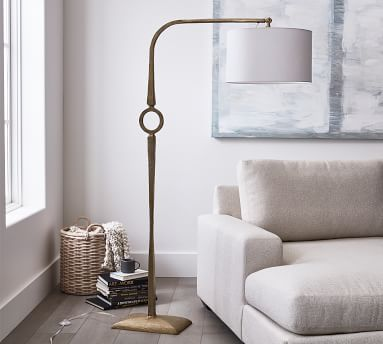 Easton Forged-Iron Round Sectional Floor Lamp with Easton Sectional Shade, Antique Brass