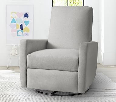 Phoenix Swivel Recliner, Performance Slubby Chenille, Fog