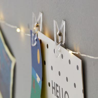Extra Long String Light Picture Holder, White