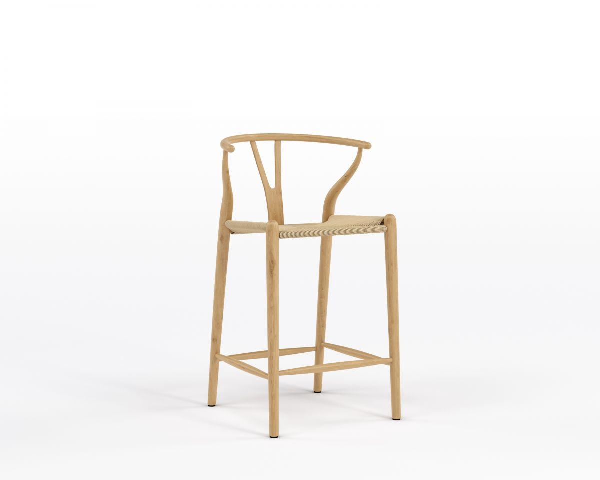 Wishbone Counter Stool - Natural Natural Seat Cord