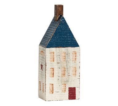 Americana Wooden Decorative House, Red/White/Blue, Large