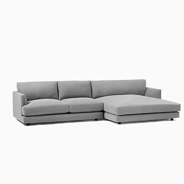 Haven Sectional Set 10: Right Arm Sofa, Left Arm Double Wide Chaise, Trillium, Chenille Tweed, Pewter, Concealed Supports