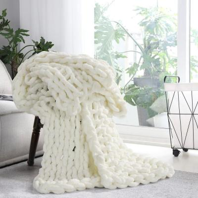 AMERICAN HERITAGE Ivory Chenille Chunky Knit Throw
