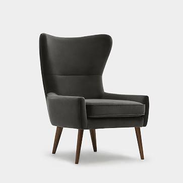 Erik Wing Chair, Velvet, Navy Dark Oak