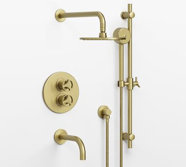 Tilden Thermostatic Cross-Handle Bathtub & Hand-Held Shower Faucet Set, Polished Nickel