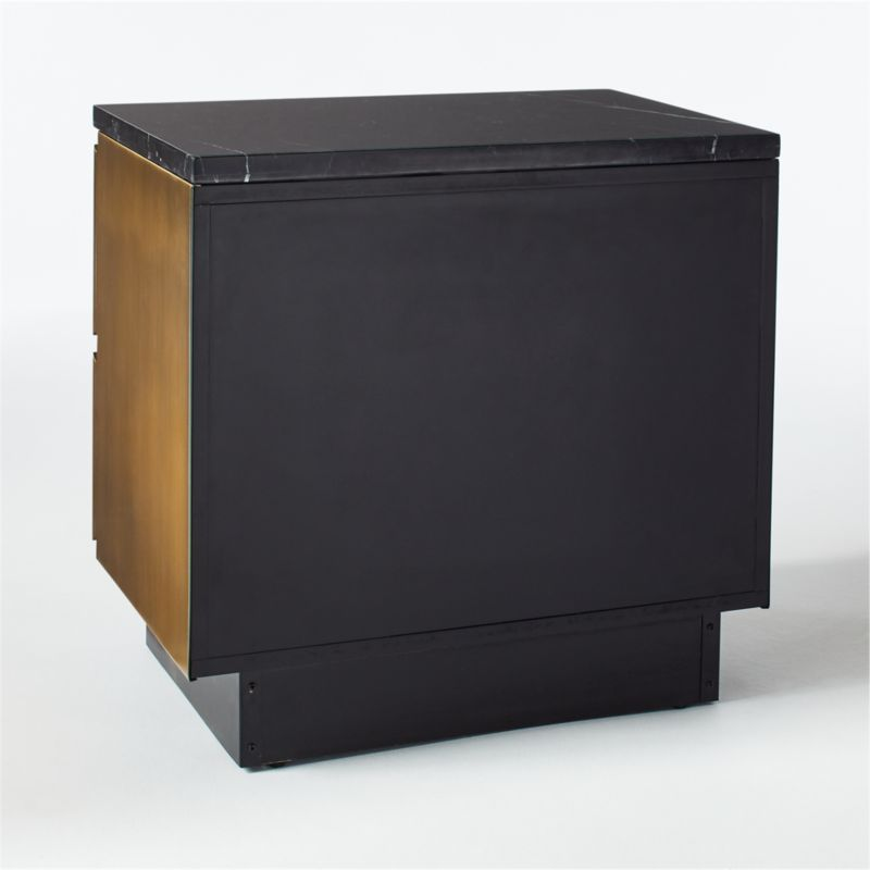 Logan Black Marble and Brass Nightstand