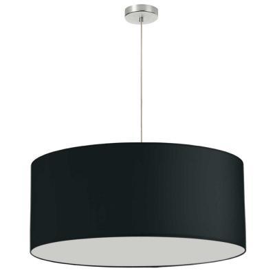 Dainolite Oversized Drum 1 Light Black Pendant with Laminated Fabric Shade
