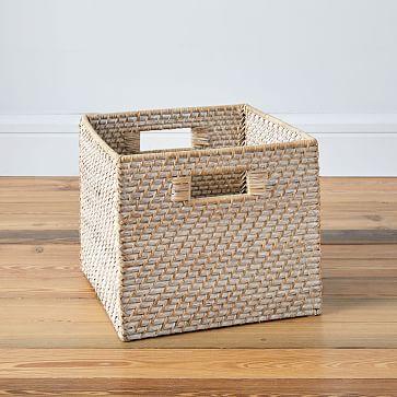 Set of 2 Modern Weave Collection, Storage Bin, Whitewash