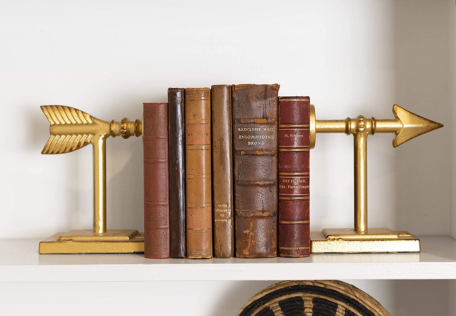 Arrow Shaped Cast Iron Bookends, Gold, Set of 2