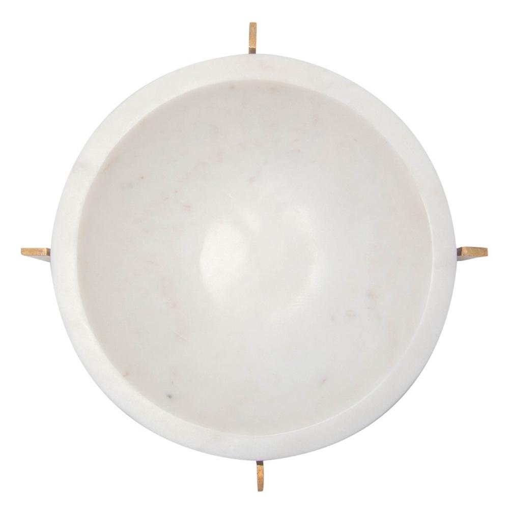 Anya Modern Classic White Marble Brass Base Round Bowl