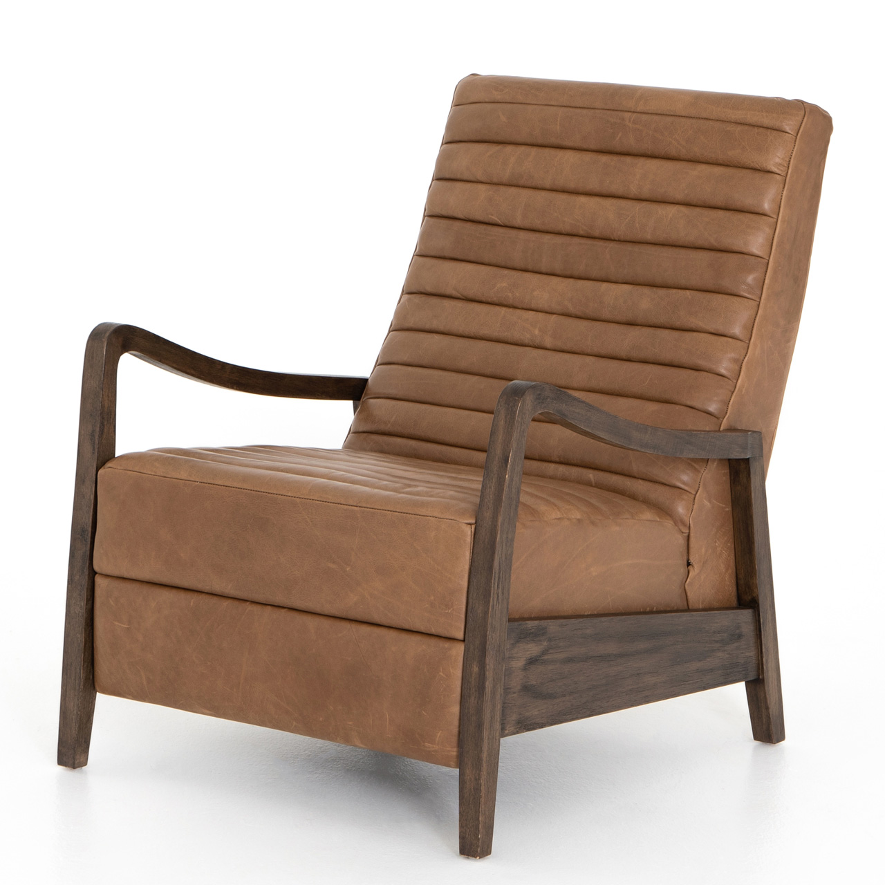 Amani Modern Classic Brown Leather Channel Tufted Recliner Arm Chair