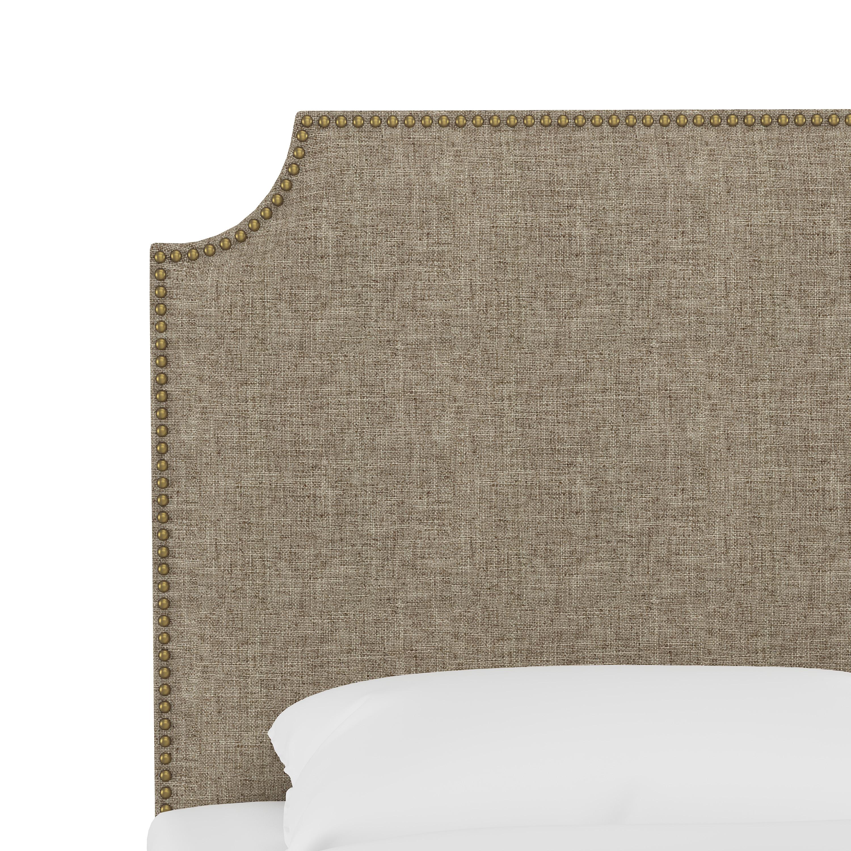 Hudson Headboard, King, Linen, Brass Nailheads